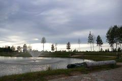 Composici?n de Reed Natural del cielo de Forest Lake Evening foto de archivo libre de regalías