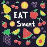 Composici?n fresca de las frutas y verduras Coma elegante ilustración del vector
