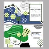 composici?n geom?trica Elementos de la planta para el diseño del paisaje Bandera horizontal libre illustration