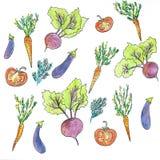 Composici?n redonda de las verduras Gr?fico linear Fondo de las verduras Estilo escandinavo Alimento sano Ilustraci?n ilustración del vector