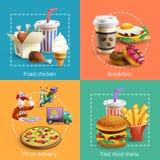Composición cuadrada de los iconos de la historieta de la comida rápida 4 Imagen de archivo libre de regalías