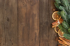 Composición de la Navidad con las especias Imagen de archivo libre de regalías