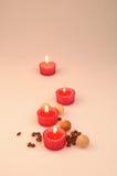 Composición del balneario velas perfumadas, Imágenes de archivo libres de regalías