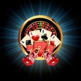Composición del casino con la rueda de ruleta Fotos de archivo