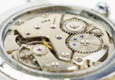 Composición del fondo del reloj mechanism Fotos de archivo