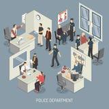 Composición isométrica del Departamento de Policía Fotografía de archivo