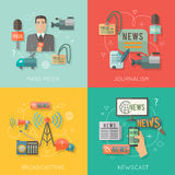 Composición plana del negocio del concepto de los medios de comunicación Fotos de archivo libres de regalías