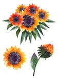 Composiciones de la acuarela del otoño o ramos de girasoles libre illustration