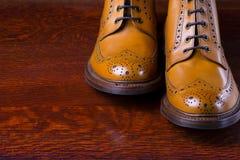 Composiciones del calzado compuestas de abarcas bronceadas de moda para hombre Foto de archivo