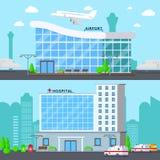 Composiciones planas de los terminales fijadas stock de ilustración
