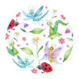 Composiciones redondas por niños de los insectos del charmin Stock de ilustración