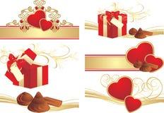 Composiciones románticas al día de tarjetas del día de San Valentín Fotografía de archivo