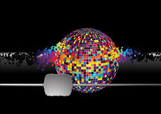 Composing globe. Sound of music. Composing, decomposing disco ball with squares. Color Globe. Vector Stock Photo