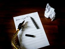 Composing music. Wind instruments, treble clef royalty free stock images