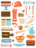 Composição colorida dos ícones do cozimento Fotografia de Stock Royalty Free