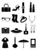 Composição das senhoras e ícones dos acessórios Fotografia de Stock Royalty Free
