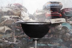 Composite of alcohol drink wine glass and crashed cars junk and scrap wrecked on grunge background representing drunk and. Intoxicated driver suffering accident stock photography