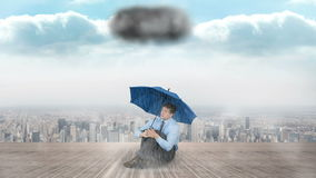 Composite animation of a businessman holding umbrella. Against storm stock footage