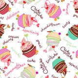 Composite background of the delicious cakes. Compound chocolate background from delicious cakes and cupcakes stock illustration
