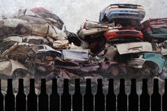Composite of beer bottles and crashed cars junk and scrap wrecked on grunge background representing drunk and alcohol intoxicated. Driver suffering accident in stock photo