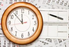 Composite of Calendar and Clock Stock Photos