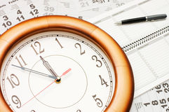 Composite of Calendar and Clock Stock Photography
