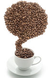 Composite of coffee beans in vertical position Royalty Free Stock Images