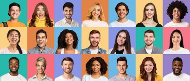 Free Composite Collage Of Happy Diverse Multicultural Young People Stock Photography - 215858532