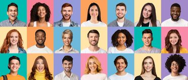 Free Composite Collage Of Young Diverse People Expressing Positive Emotions Stock Image - 215850051