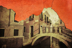 Composite of cracked plaster and a vintage Venice Stock Photo