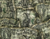 Composite of Crumpled Folded Dollar Bills Stock Photography