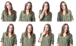 Composite of a cute young woman in different expression collage Royalty Free Stock Photos
