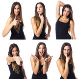 Composite of a cute young woman in different expression collage Royalty Free Stock Images