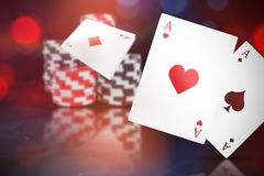 Composite 3d image of ace of hearts card. Ace of hearts 3D card against dark grey background Stock Photos