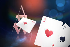 Composite 3d image of ace of hearts card. Ace of hearts 3D card against dark grey background Stock Image
