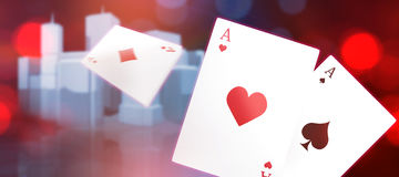Composite 3d image of ace of hearts card. 3D image of ace of hearts card against three dimensional image of modern buildings Stock Image