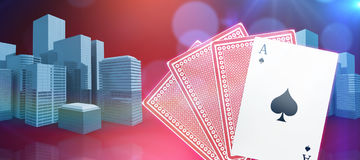Composite 3d image of ace of spades with playing cards Royalty Free Stock Photography