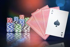 Composite 3d image of ace of spades with playing cards Stock Photos