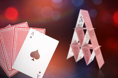 Composite 3d image of ace of spades with playing cards Royalty Free Stock Images