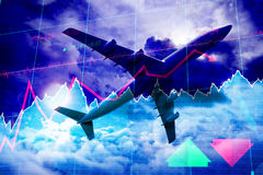 Composite 3d image of airplane. 3D image of airplane against stocks and shares Royalty Free Stock Image