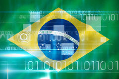 Composite 3d image of blue technology design with binary code. Blue technology design with binary code against digitally generated brazilian 3D national flag Royalty Free Stock Photography