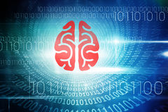 Composite 3d image of brain. 3D brain against spiral of shiny binary code Stock Photo