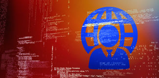 Composite 3d image of businessman and sphere. 3D image of businessman and sphere against blue codes Stock Photography