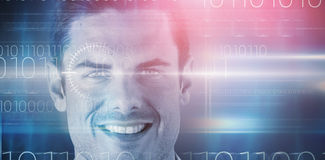 Composite 3d image of close up portrait of happy handsome man. 3D image of close up portrait of happy handsome man against blue technology design with binary Stock Photos