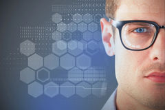 Composite 3d image of close up of young man wearing eyeglasses Stock Photography
