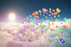 Composite 3d image of colourful computer applications. Against scenic view of bright sun over white cloudscape vector illustration