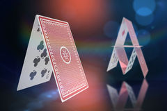 Composite 3d image of computer generated image of card castle Stock Image