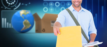 Composite 3d image of delivery man with clipboard asking for signature. 3D image of delivery man with clipboard asking for signature against illustration of Royalty Free Stock Photo