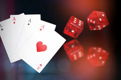 Composite 3d image of digital composite image playing cards. Digital composite 3D image playing cards against dark grey background Royalty Free Stock Photo