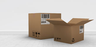 Composite 3d image of digital image of open courier cardboard box. Digital 3D image of open courier cardboard box against gray flooring and wall Stock Photography